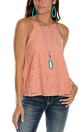 Moa Moa Women's Peach Lace Sleeveless Tank Top