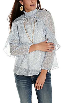 Moa Moa Women's Light Blue with White Floral Print and Ruffles Long Sleeve Fashion Top