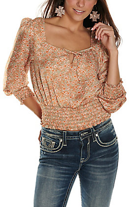 Moa Moa Women's Sage with Rust Floral Print Cropped Long Sleeve Fashion Top