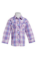 Cowgirl Legend Toddler Girls Purple Plaid Rhinestone Long Sleeve Western Snap Shirt