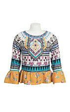 Flying Tomato Girl's Mustard Ornate Print with Long Bell Sleeves Fashion Top