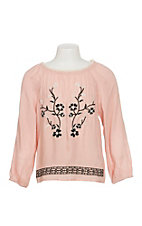 Flying Tomato Girls Pink with Black Embroidery Shirt
