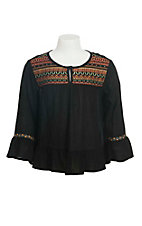 Flying Tomato Girl's Black with Multi COlored Aztec Embroidery Long Bell Sleeve Fashion Top