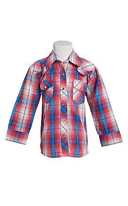 Cowgirl Legend Toddler Girls Multi Plaid Print Ruffle Long Sleeve Western Shirt