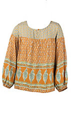 Flying Tomato Women's Rust Multi Print Long Cinched Sleeve Fashion Top - Plus Size