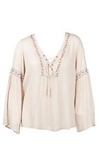 Flying Tomato Women's Tan with Floral Embroidery Long Bell Sleeve Peasant Fashion Top - Plus Size