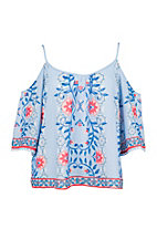 Flying Tomato Women's Light Blue With Floral Cold Shoulder Fashion Top
