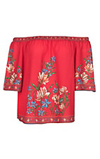 Flying Tomato Women's Red Floral Off the Should Fashion Shirt - Plus Size