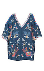Flying Tomato Women's Navy Floral Cold Shoulder Poncho Fashion Top - Plus Sizes