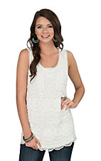 Anne French Women's Ivory Crochet Sleeveless Fashion Top
