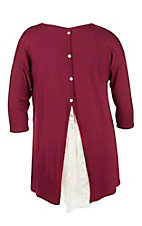 James C Women's Burgundy with Buttons Down Back and Lace Inlay 3/4 Sleeve Casual Knit Tunic Top - Plus Size