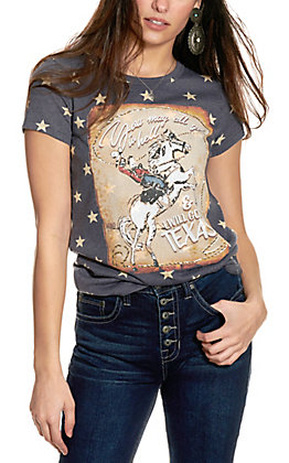 XOXO Art & Co Faded Blue with Stars and Cowboy Graphic Short Sleeve T-Shirt