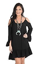 Panhandle Women's Black with Ruffles and Cold Shoulder Long Sleeve Dress