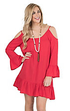 Panhandle Women's Red with Ruffles and Cold Shoulder Long Sleeve Dress
