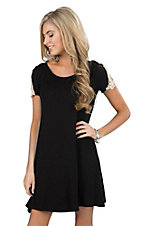 Panhandle Women's Black with Macrame Lace Cap sleeve Dress