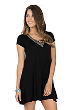 Panhandle Women's Black Cap Sleeve Criss Cross Knit Dress