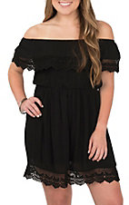 Panhandle Women's Black Off the Shoulder Crochet Detail Dress