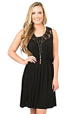 Panhandle Women's Black with Crochet Top Sleeveless Dress