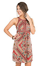 Panhandle Women's Multi Color Paisley Print Sleeveless Dress