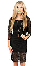 Panhandle Women's Black Lace 3/4 Sleeve Dress