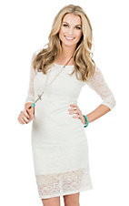 Panhandle Women's White Lace 3/4 Sleeve Dress