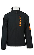 Cinch Men's Black with Orange Logos Bonded Jacket