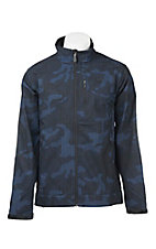 Cinch Men's Black and Blue Camo Print Long Sleeve Bonded Jacket