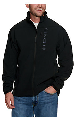 Cinch Men's Black with Grey Logos Bonded Jacket - Big and Tall