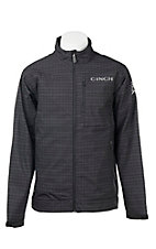 Cinch Men's Black and Grey Grid Print Long Sleeve Bonded Jacket