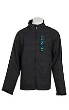Cinch Men's Black Grid Print Bonded w/ Turquoise Logo Cavender's Exclusive Jacket