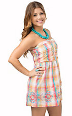 Panhandle Women's Pastel Plaid Strapless Dress