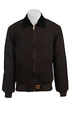 Carhartt Dark Brown Quilted Flannel Lined Sandstone Santa Fe Jacket