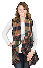 Fantastic Fawn Women's Green and Navy Plaid Vest