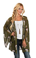 Peach Love Women's Olive Serape Skull Print Long Split Sleeve Kimono