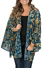 Berry N Cream Women's Teal and Velvet Kimono