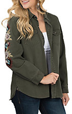 Berry N Cream Women's Olive Floral Embroidered Jacket