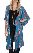 Peach Love Women's Blue Floral Feather Print Ruffled Kimono