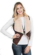 Vigoss Women's Chocolate with Cream Shearling Sleeveless Wrap Vest