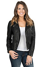 Vigoss Women's Black Faux Leather Motorcycle Jacket