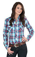 Panhandle Women's Blue and Red Plaid Long Sleeve Western Snap Shirt
