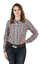 Panhandle Women's Coral and Grey Plaid Long Sleeve Western Snap Shirt