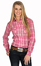 Panhandle Women's Hot Pink Plaid with Silver Lurex Long Sleeve Western Shirt