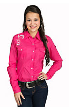 Panhandle Women's Hot Pink Embroidered Yoke Western Shirt