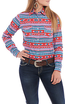 Panhandle Women's Pink, Turquoise & Red Aztec Print Long Sleeve Western Shirt