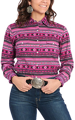 Panhandle Women's Purple Aztec Print Long Sleeve Western Shirt