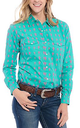 Panhandle Women's Turquoise Pink Cactus Print Long Sleeve Western Shirt