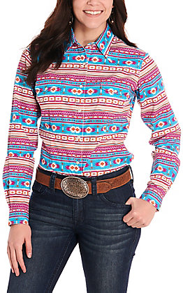 Panhandle Women's Turquoise and Pink Aztec Stripes Long Sleeve Western Shirt