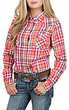 Panhandle Women's Orange Plaid L/S Western Snap Shirt