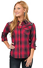 Panhandle Women's Red and Purple Plaid with Floral Embroidery Long Sleeve Western Shirt