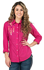 Panhandle Women's Hot Pink with Aztec Embroidery Long Sleeve Western Shirt